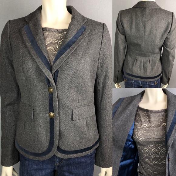 5b0f6424893 NWT Ann Taylor LOFT gray blazer w navy trim size 6